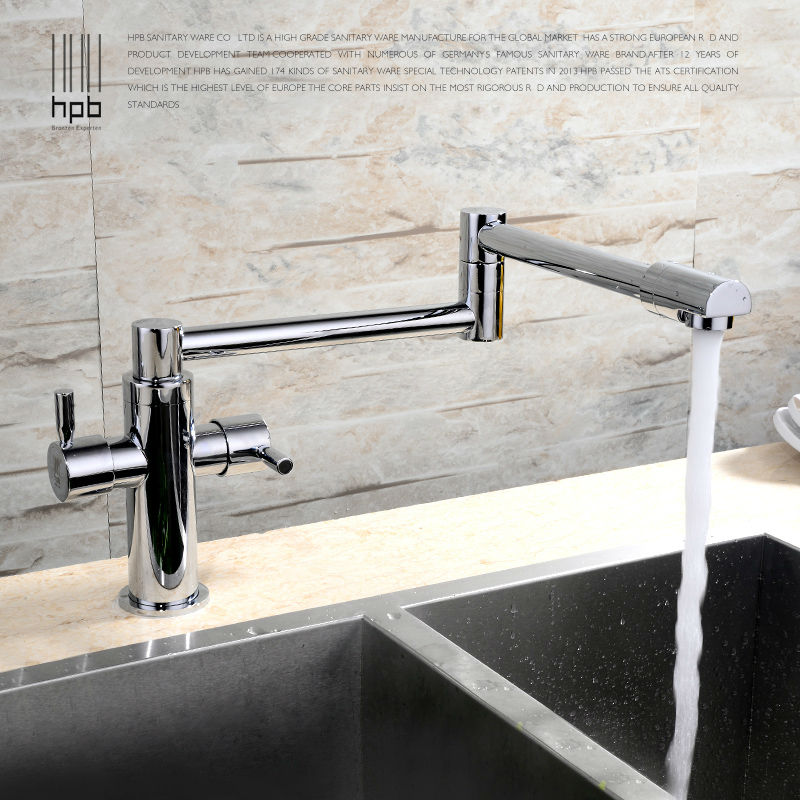 HPB Brass Morden Kitchen Faucet Mixer Tap Bathroom Sink Faucet Deck Mounted Hot and Cold Faucet