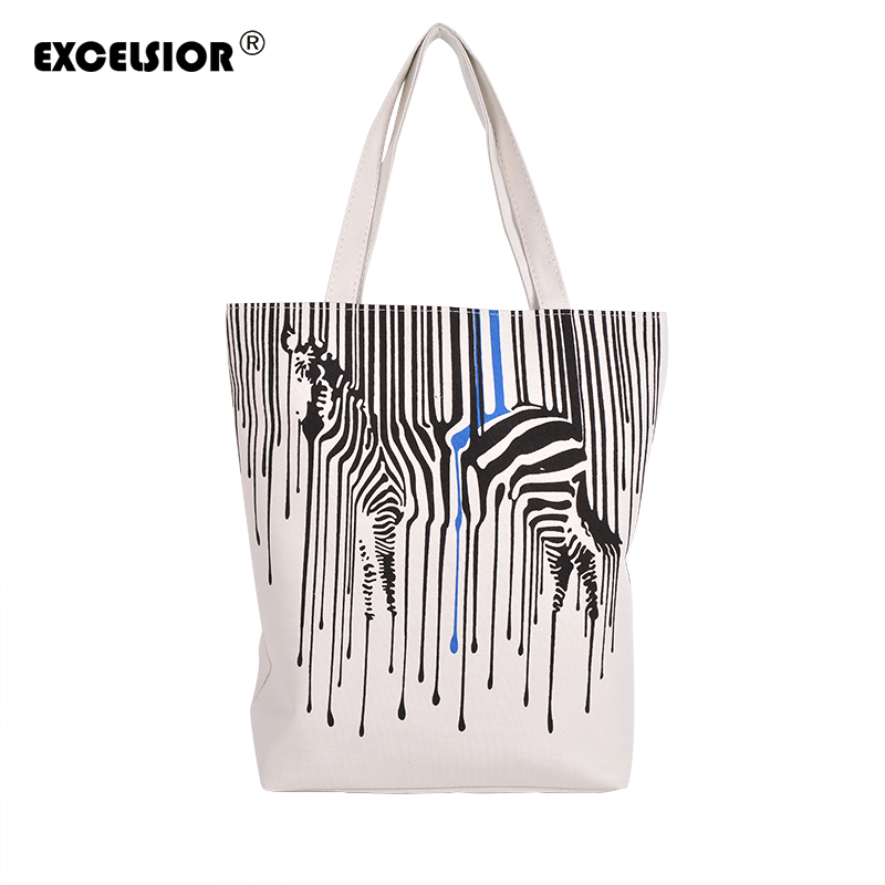 Zebra Pattern Shopper Canvas Women Tote Shopping Bags Casual Handbags