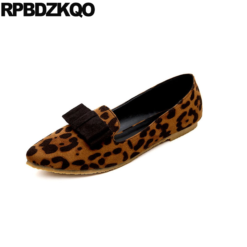 3f9cba354827 suede china kawaii flats 10 large size 42 bow loafers leopard print ladies pointed  toe women shoes with little cute bowtie 2018
