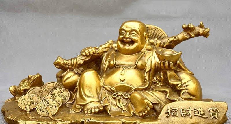 12 China Buddhism Brass Bring Wealth Toad Happy Laughing Maitreya Buddha Statue 12 China Buddhism Brass Bring Wealth Toad Happy Laughing Maitreya Buddha Statue