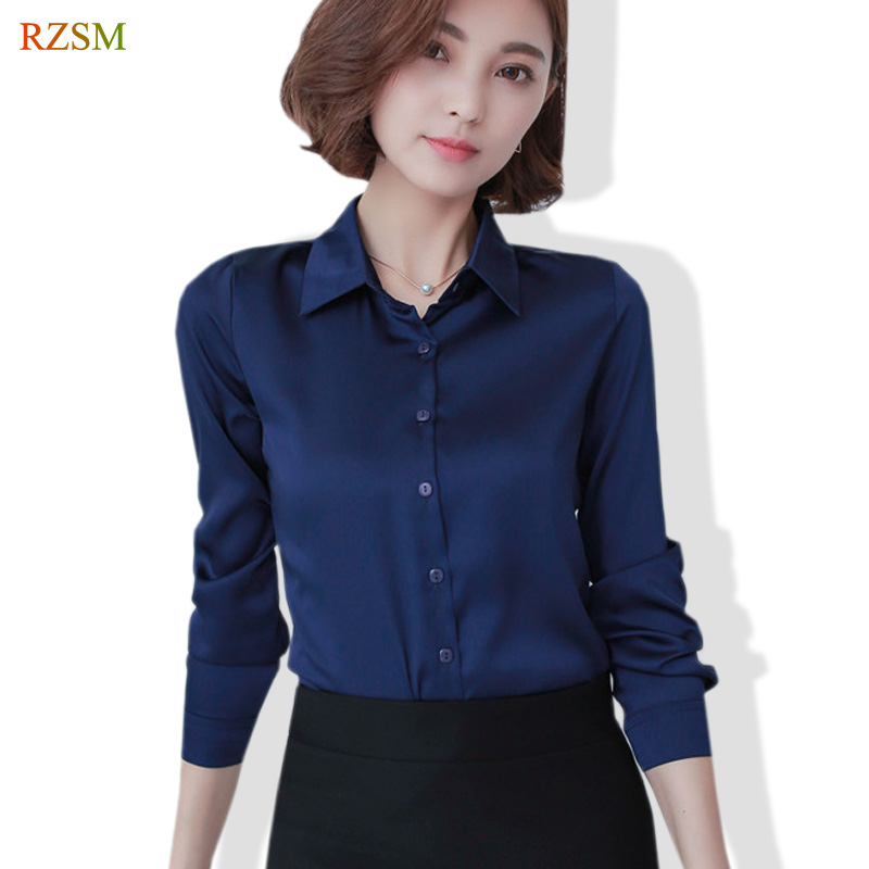 a7c53a77f5675 S-XXL Women Fashion Silk Satin Blouse Button Ladies Mulberry Silk Blouse  Shirt Casual Office Blue Red Long Sleeve OL Blouses