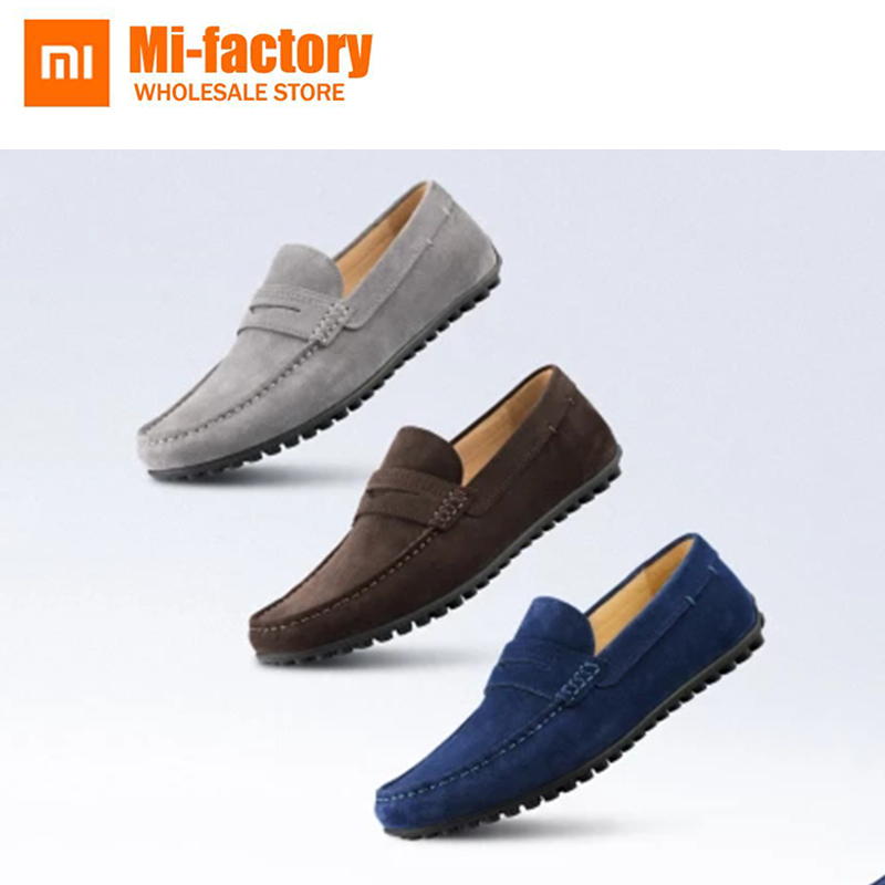 NEW Xiaomi Comfortable Casual Waterproof Breathable Mens Flat Shoes Cowhide Shoes Men Loafers Slip Mens British Style Flats Shoe 2016 new style crocodile mens casual shoes real leather comfortable rubber soft bottom men loafers basic flats for bsiness z626