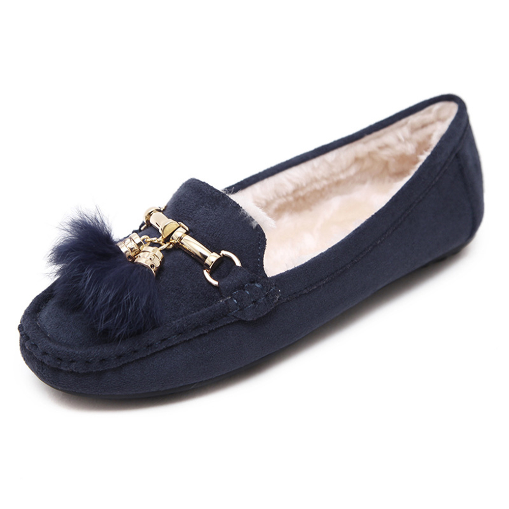Women Faux Fur Comfortable Slip On Moccasin Loafers Warm Winter Flats Shoes faux fur trim driving shoes