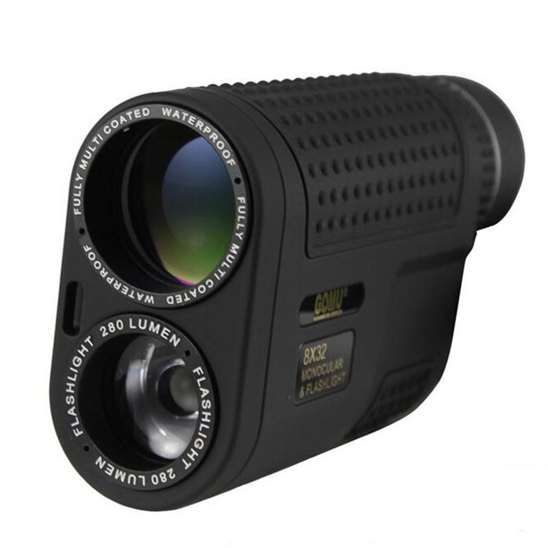 Black HD 8x32 Night Vision Monocular Multifunctional Compact Zoom Waterproof Telescope Built-in Flashlight For Camping Hunting