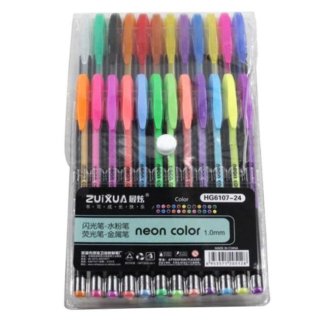 ZUIXUAN 24 Gel Pens set Color gel pens Glitter Metallic pens Good ...