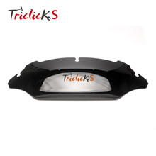 Triclicks ABS Motorcycle Wind Shield Black Screen 7Inch Wave Windscreen Windshield For Harley Street Electra Glide FL 14-16