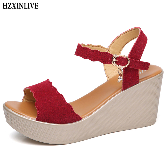 deea56e9d7 HZXINLIVE Sexy Summer Sandals for Women Genuine Leather Wedges Shoes Woman  High Heel Sandals Female Casual Shoes Ladies Footwear