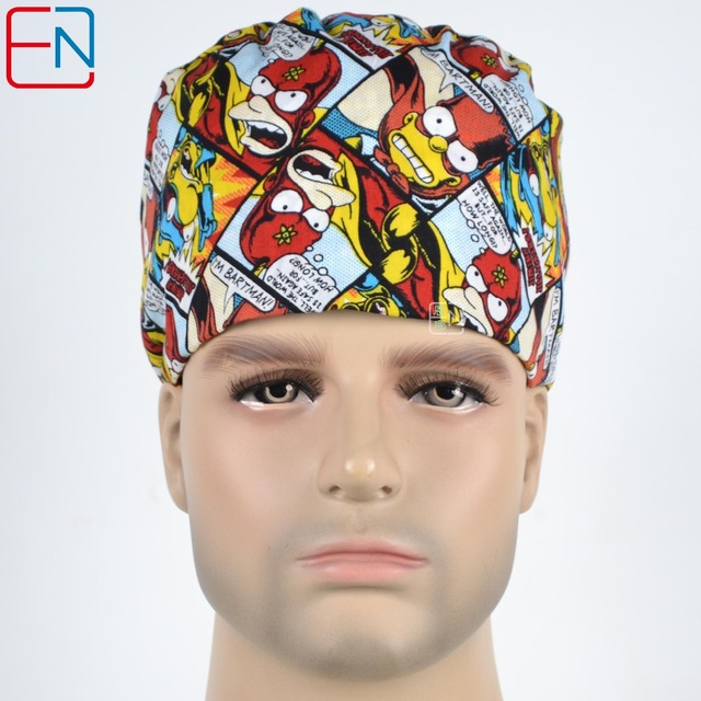bae10bd6740 Hennar Medical Scrub Caps Masks For Doctor Nurse 100%Cotton Printed Caps  Breathable Perfect Sewing