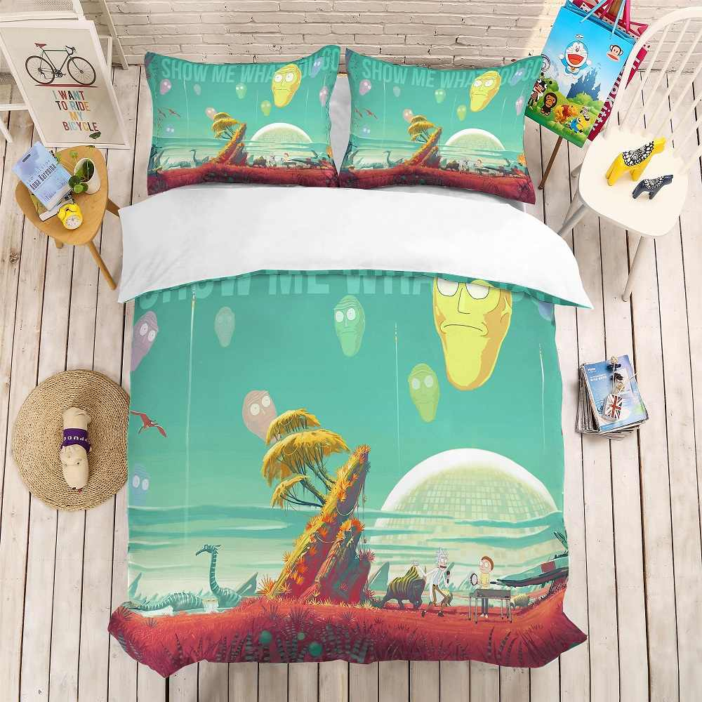 Cartoon Face Bedding Set Rick and Morty Bed Linen Set 3D Print Plant/Animals Duvet Cover Set Pillowcase 3PCS AU/EU/US Bedclothes