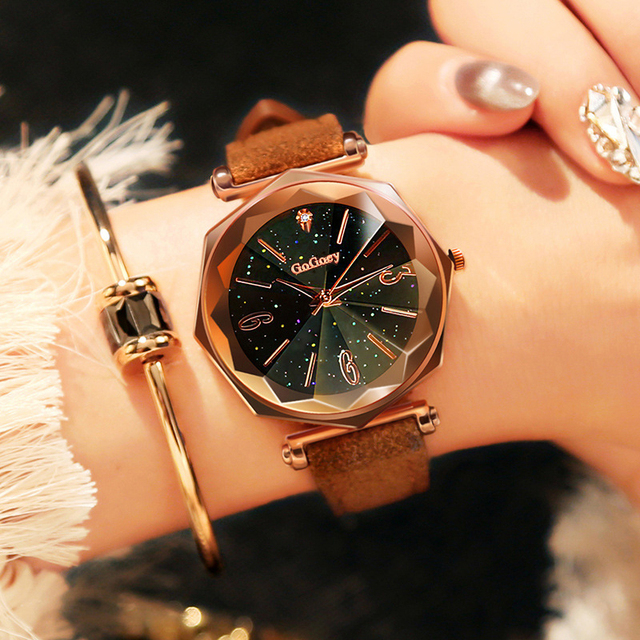 New Luxury Fashion Leather Watches Women Top Brand Rose Gold Crystal Dress Wrist