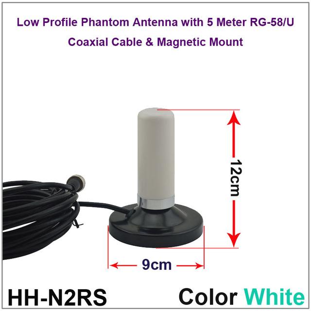 Bajo Perfil Phantom Antena de Doble Banda VHF UHF Móvil/Vehículo Radio Antena con montaje magnético y 5 M Coaxial Cable de Color Blanco