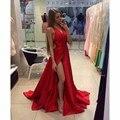 Vestidos De Fieata 2016 Atractivos Una línea V Cuello Largo Rojo mujer Vestidos de Baile Para Sepical Ocasión Vestido Rajó Los Vestidos de Noche H-156