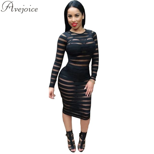 477cd6ab 2016 Summer Women Long Sleeve Sexy See-Through Striped Black Stretch White  Party Dress Mesh