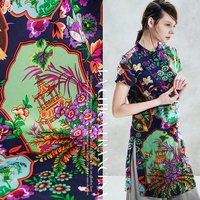 12momme 110cm width Chinese HangZhou three pools mirroring the moon printed 100% mulberry silk dress cloth fabric garment materi