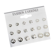 Fashion earrings 2019 women lady Ear Ring Set Combination Of 9 Sets of pearl and crystal aretes de mujer(China)