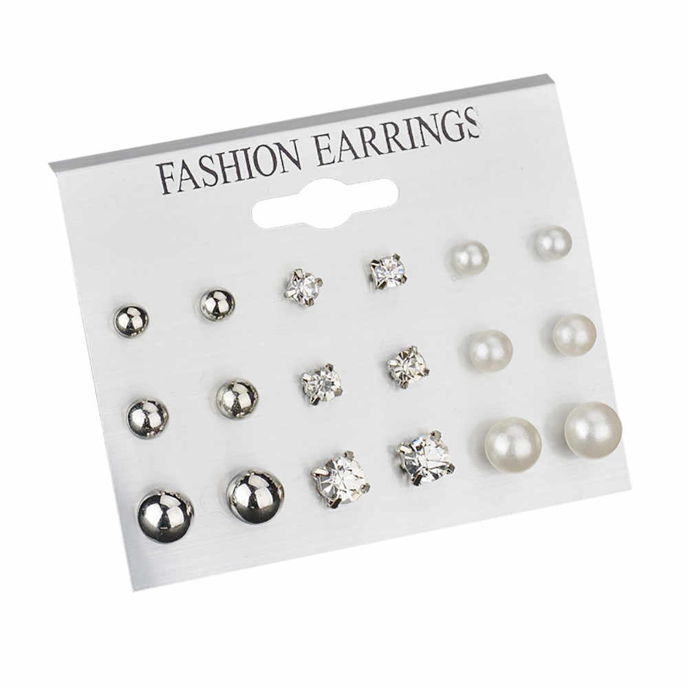 Fashion earrings 2019 women lady  Ear Ring Set Combination Of 9 Sets of pearl and crystal aretes de mujer