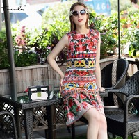 Truevoker 2017 Summer Designer Dress Women S Charming Fancy Flower Majolica Printed Embroidery Lace Patchwork Mermaid