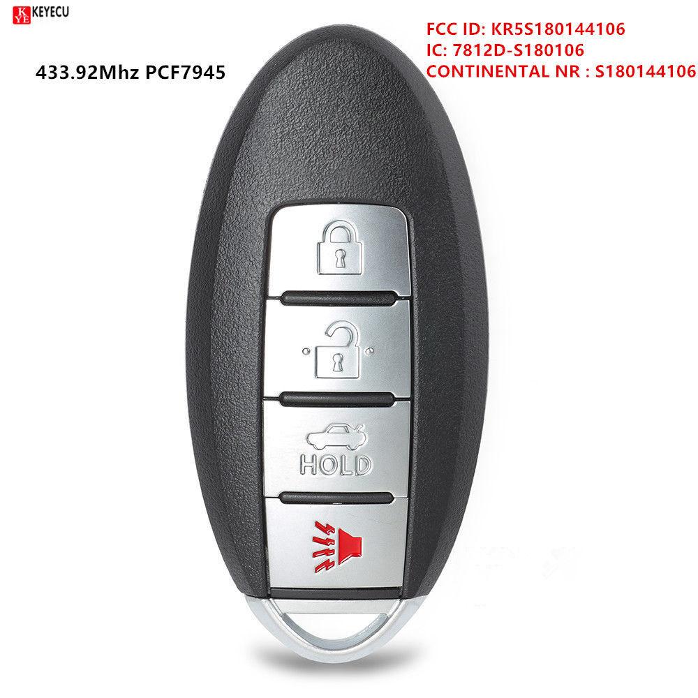 KEYECU 3 + 1 bouton 433.92 MHz Smart télécommande porte-clés pour Nissan Rouge 2014-2016 S180144106