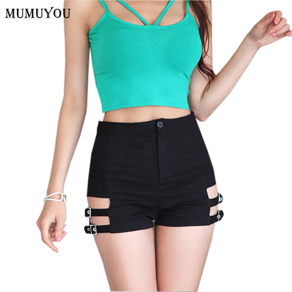 Sexy Women Skinny Stretch   Shorts   Cotton Blend High Waist Hollow Out   Short   Hot Black Clubwear New Fashion 200-A620