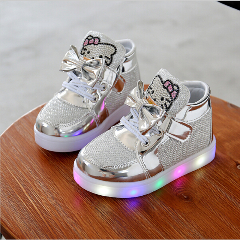 KKABBYII Children Shoes New Spring Hello Kitty Rhinestone Led Shoes Girls Princess Cute Shoes With Light EU 21-30 ...