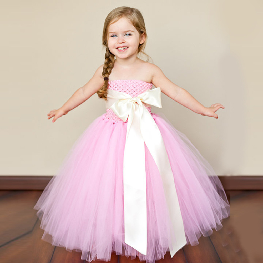 Kids Children Ball Gown Flower Girls Baby Princess Mesh Tutu Bow Shoulderless Dress Wedding Party Pageant Dresses Vestidos S5454 free shipping sss7n60b 7n60b to220 in stock 50pcs