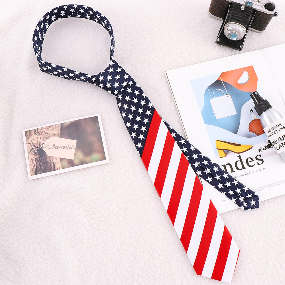 Fashion Printed Tie American Flag Stars And Stripes Slim Cravat Leisure Unisex Gifts For Classic Men Party Wedding Tie