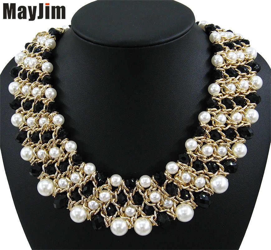 MayJim Dichiarazione Collane di perle 2018 chunky grande cristallo Collana girocollo e pendenti Delle Donne di modo dei monili dell'annata accessori