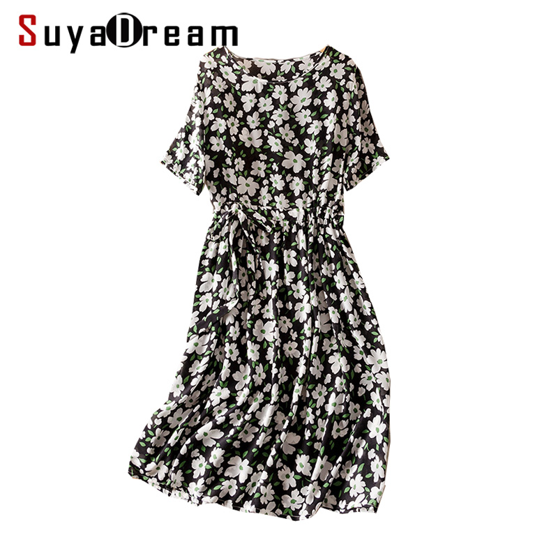 Women Silk dress 100 Real silk Crepe Belted Half sleeved Floral Printed dresses Knee length 2019