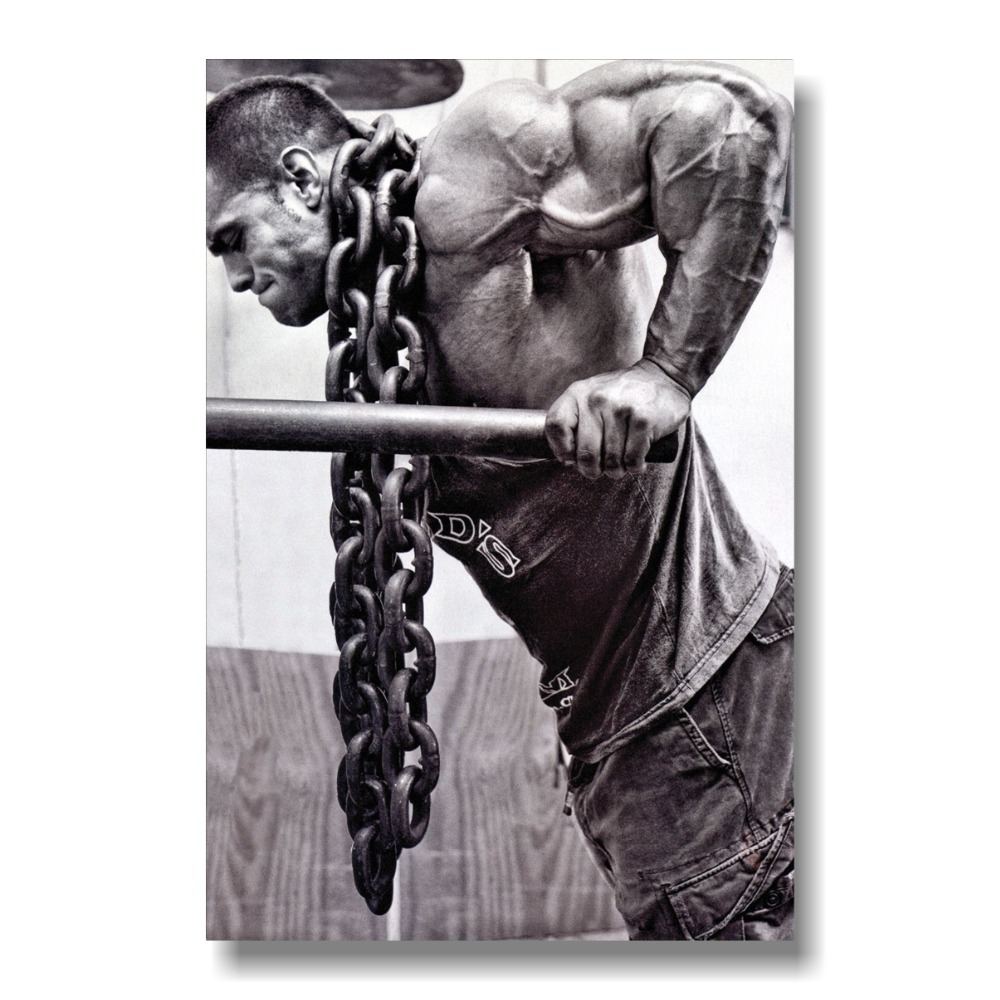 Bodybuilding affisch Motivational Inspirational Själv Positiv Man Silk Posters