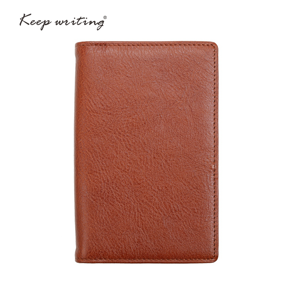 Mini size Leather NOTEBOOK 45 sheets <font><b>100gsm</b></font> <font><b>paper</b></font> lined pages stationery small agenda Journal notes real leather pocketbook image