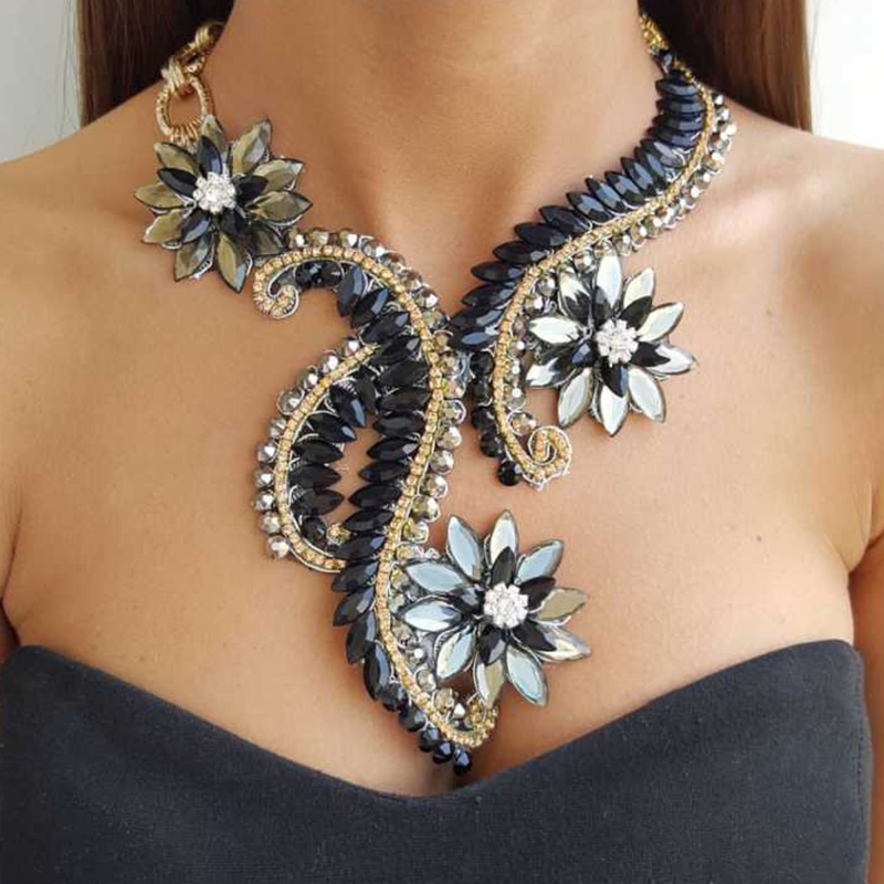 Best lady Fashion Jewelry Big Maxi Statement Necklace Pendant for Women 2017 New Arrival Flowers Collar Chokers Necklace Bijoux