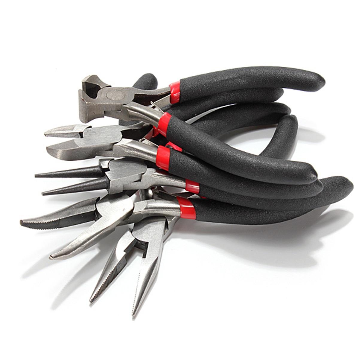 5Pcs Cutter Jewellery Mini Pliers Set Kit Chain Round Bent Needle Nose Beading Making Repair Tool Kit Hand Tools