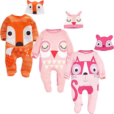 New Baby Boys Girls Fox Animals Kids Newborn Infant Romper Hat 2pcs  Long Sleeve Cute Clothes Outfits Set Infant Boy Girl  0-24M cute black jumpsuits outfits clothing baby kid boy girl wings newborn toddler child infant kids boys girls clothes romper 0 18m