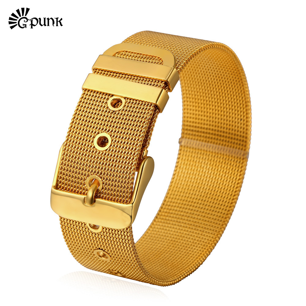 Sohoku Wristband Wrist Strap Wrap Support Pelindung Gelang Kulit Anyaman Tipis Pria Stainless Steel Resizable Link Gesper Punk Perhiasan 3 Pilihan Kualitas Tinggi Desain