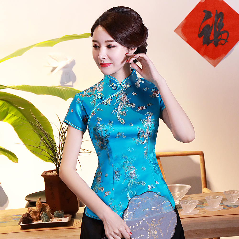 Traditional Chinese Lady Satin Blouse BLUE Summer Sexy Short Sleeve Women Shirts Novelty Dragon&Button Top Clothing S-4XL