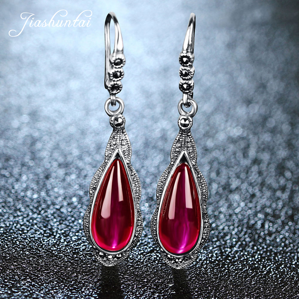 JIASHUNTAI 100% 925 Sterling Silver Earrings For Women Vintage Natural Semi-precious Stones Earrings Retro Thai Silver Jewelry цена