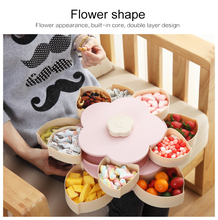Creative Rotating snack Box Plastic Petal Double Single Layer Fruit Plate Divided Snack candy Fruit nuts Bowl kitchen supplies