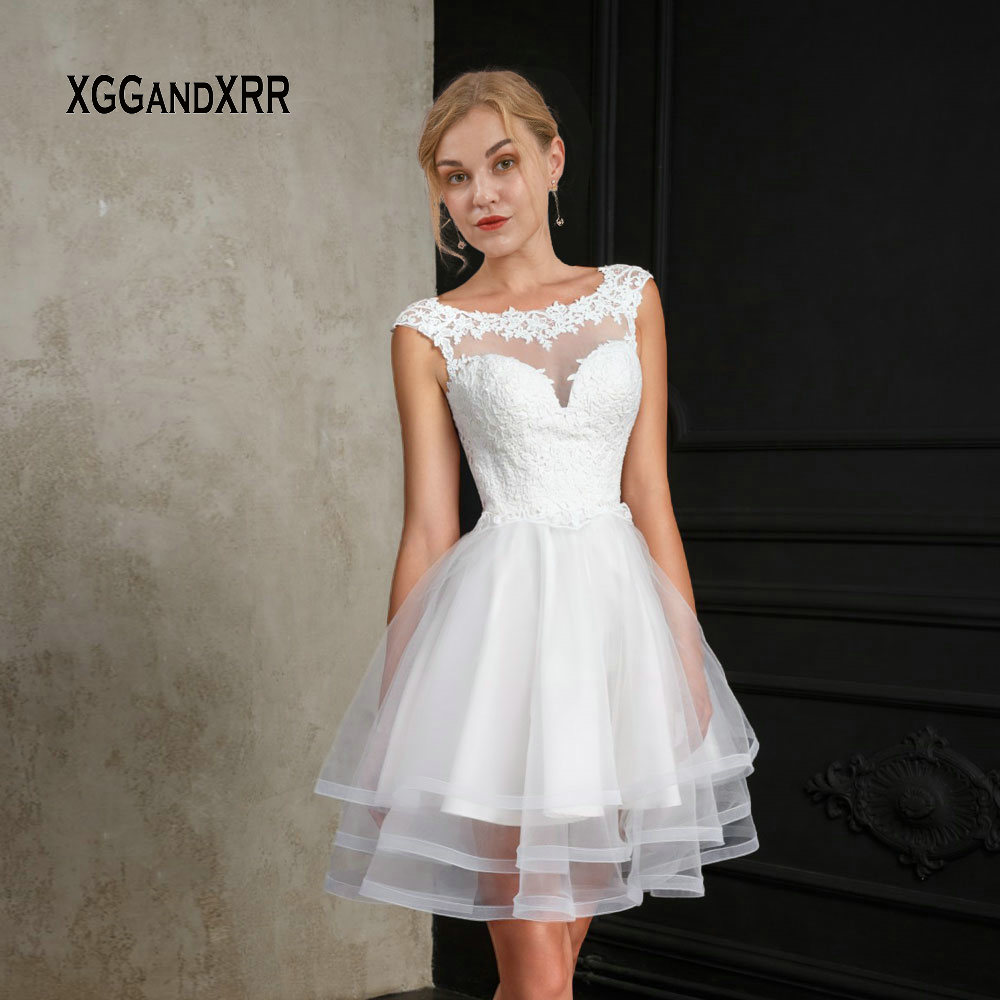 Us 10965 15 Offnew White Short Wedding Dress 2019 Ball Gown Bride Dress Scoop Cap Sleeves Mini Lace Applique Layers Ruffle Fluffy Bridal Dress In