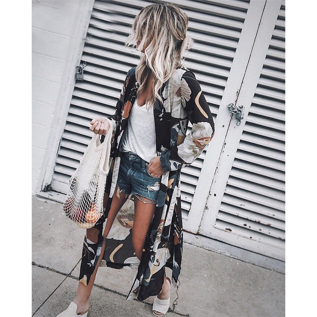 נשים שיפון קימונו קרדיגן פרחוני מודפס ארוך שרוול חולצה קיץ החוף לחפות ארוך חולצות Boho Loose גבירותיי חולצות Blusas