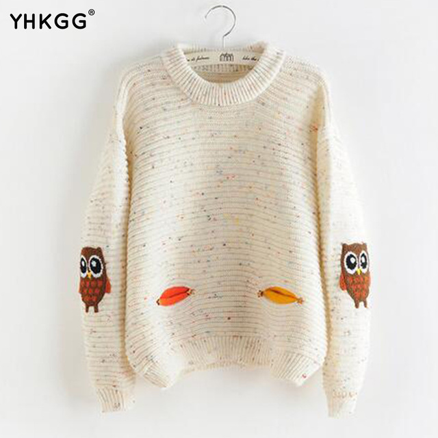 YHKGG 2016 Sweater Autumn Winter Fashion Ladies O-Neck Collar The New Owl  Character Solid 854de8ba7
