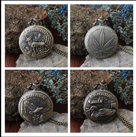 Vintage Souvenir Watch Canada Animal Mascot Jewelry Quartz Pocket Watch Students Free Shipping 20pcs/lot KOJ632