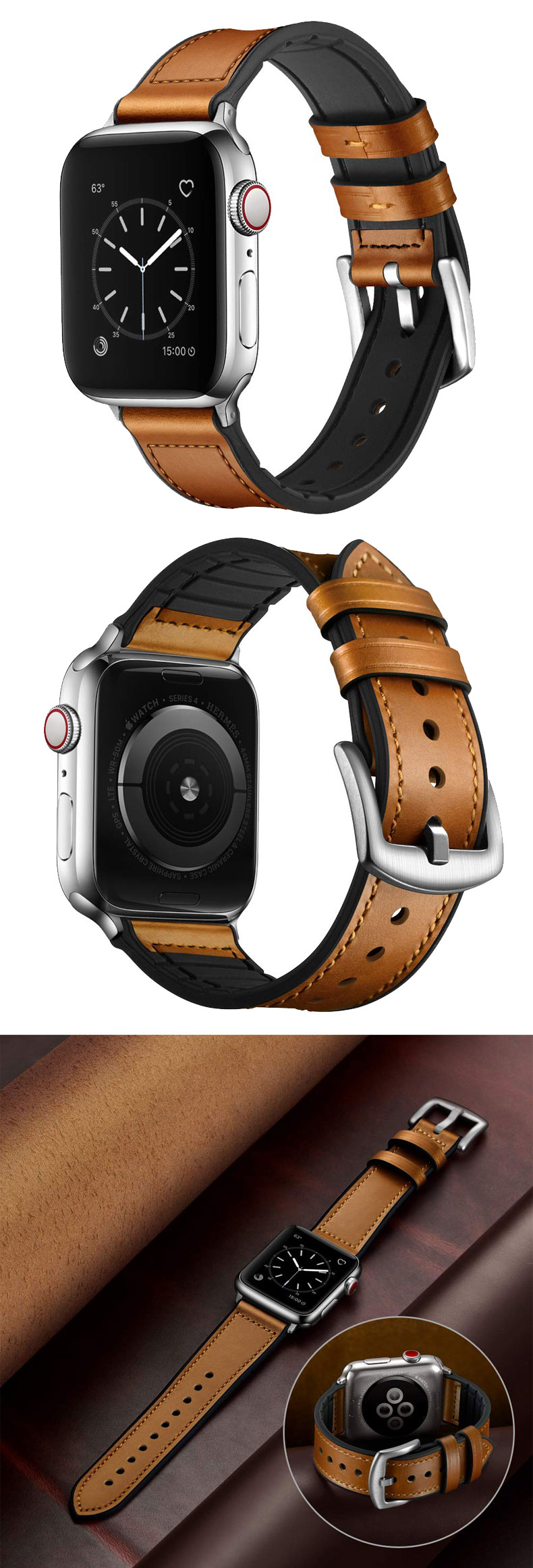 Hybrid Sports band For Apple Watch band 42mm 38mm iwatch 5 4 3 2 44mm 40mm vintage Genuine Leather Sweatproof strap Accessories