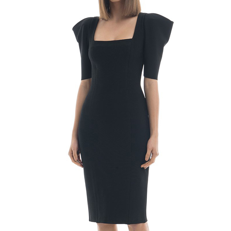 Adyce 2019 New Arrive Summer Women Celebrity Party Bandage Dress Vestidos Sexy Black Short Sleeve Bodycon