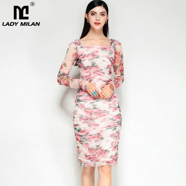 New Arrival 2018 Women s Square Neckline Floral Printed Ruched Fashion  Sheath Designer Dresses f3b046f1fe90d