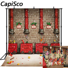 Capisco Toy factory snow Red train Christmas Decor Photography Backgrounds Customized Photographic Backdrops For Photo Studio