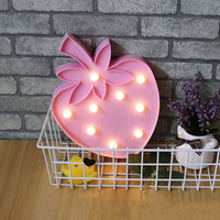 2017 New Pink Strawberry Night Light For Children Luminaria Led Wireless Wall Lamp Girls Bedroom Decor