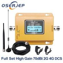 Fullset 4G LTE DCS 1800 Cellulaire Signaal Versterker 70dB Gain Lcd scherm GSM Band 3 LTE Mobiel Signaal Repeater + antenne