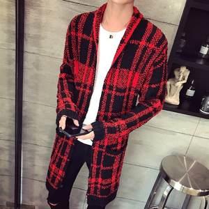 1486d1ee FRMZ Long Mens Knitted Sweaters Red Black Cardigan Hood