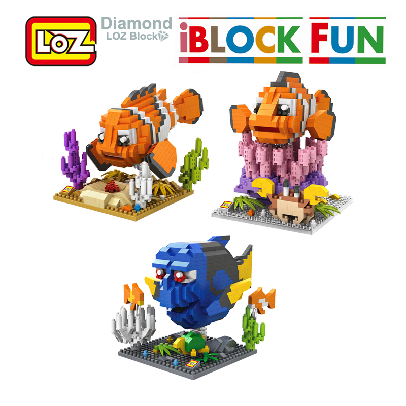 LOZ Finding Dory Nemo Figure Blocks Toy No Box LOZ Diamond Building Blocks Fish Toy Model 14+ Offical Authorized Distributer loz my neighbor totoro toy umbrella totoro model action figure diamond building blocks original box 14 gift 9509