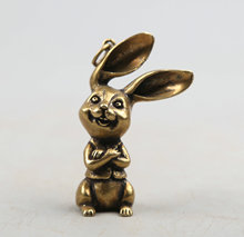 51MM/2.1Collect Curio Rare China Fengshui Small Bronze Exquisite Animal 12 Zodiac Year Rabbit Cartoon Coney Pendant Statuary39g